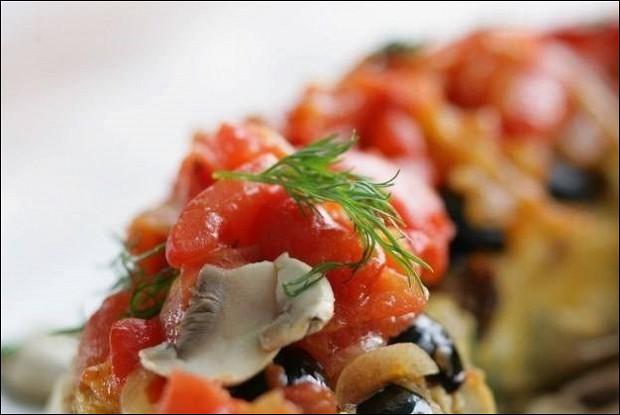 Рыбная запеканка с шампиньонами и шпинатом