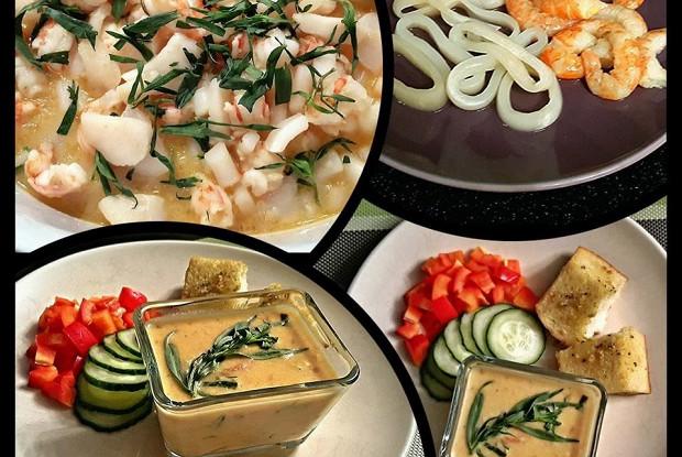 Морепродукты в сырно-сливочном соусе с чесночными гренками