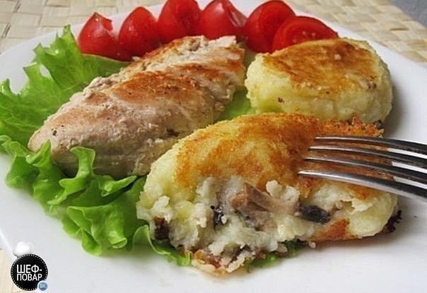Картофельные зразы с шампиньонами и луком