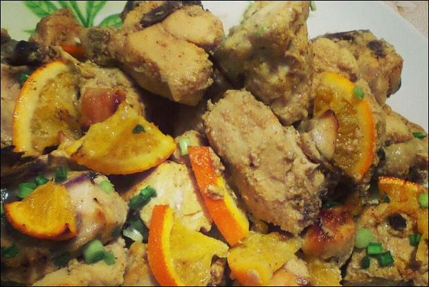 Курица с апельсинами, карри и медом