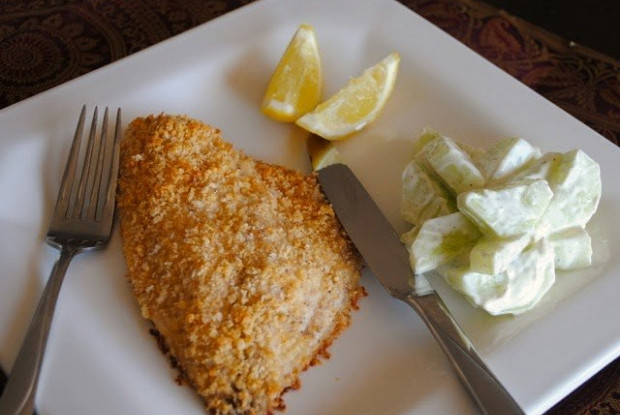 Запеченная треска в панировке из грецких орехов с лимоном и пармезаном от Гордона Рамзи