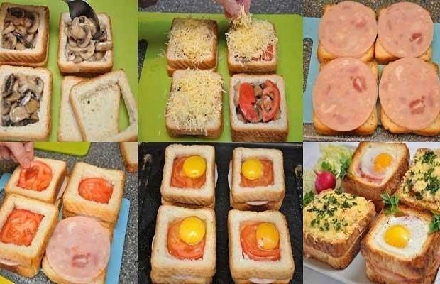Бутерброды с ветчиной и яйцом к завтраку