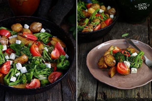 Картофельный салат с брокколи, томатами и сыром фета