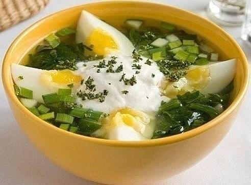 Овощной супчик с яйцом