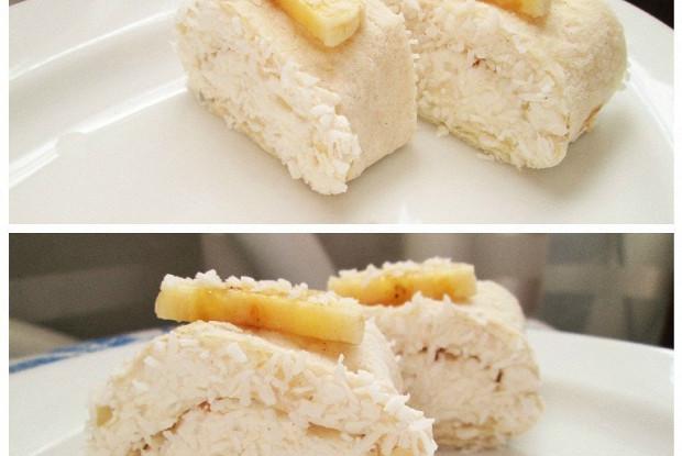 Творожные роллы с бананами в кокосовой стружке