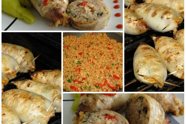 Кальмары с рисом на гриле