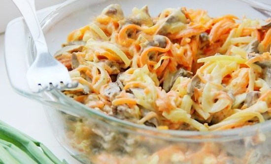 Салат со свининой и морковью