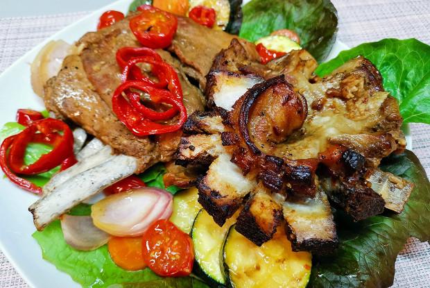 Бараньи ребра с овощами
