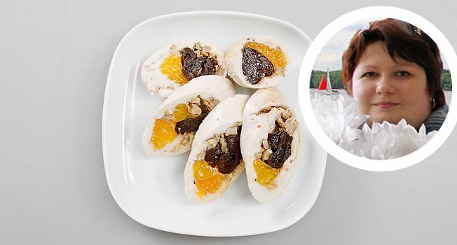 Куриные рулеты с мандаринами и черносливом