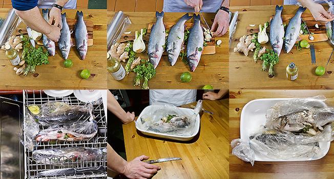 Как приготовить рыбу в посудомойке