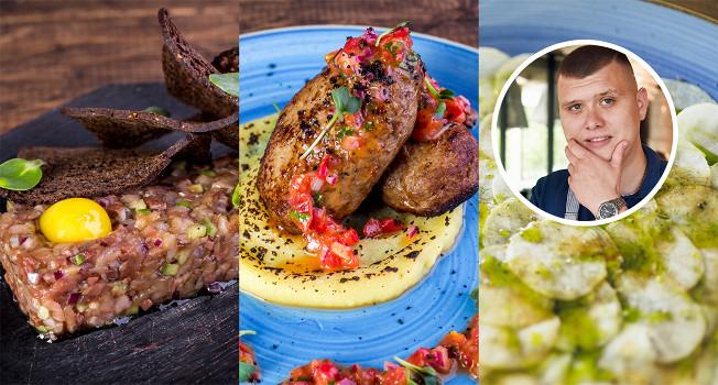 Карпаччо из петрушки, котлеты из двух видов мяса и тартар из селедки